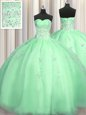 Ideal Puffy Skirt Apple Green Zipper 15th Birthday Dress Beading and Appliques Sleeveless Floor Length