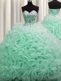 Sleeveless Lace Up Floor Length Appliques and Ruffles Quinceanera Dress
