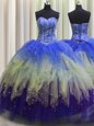 Three Piece Visible Boning Ball Gowns Sweet 16 Quinceanera Dress Multi-color Sweetheart Tulle Sleeveless Floor Length Lace Up