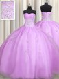 Sweetheart Sleeveless Sweet 16 Quinceanera Dress Floor Length Beading and Appliques Lilac Organza