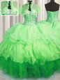 Deluxe Visible Boning Sleeveless Beading and Ruffles Lace Up Vestidos de Quinceanera