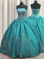 Pretty Teal Lace Up Strapless Beading and Embroidery Sweet 16 Dresses Taffeta Sleeveless