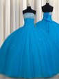 Smart Really Puffy Tulle Sleeveless Floor Length Ball Gown Prom Dress and Beading and Sequins