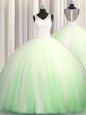 Wonderful See Through Zipple Up Sleeveless Brush Train Beading and Appliques 15th Birthday Dress