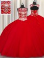 Scoop Red Ball Gowns Beading Sweet 16 Dresses Lace Up Tulle Sleeveless Floor Length