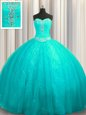 Flirting Aqua Blue Organza and Sequined Lace Up Quinceanera Dresses Sleeveless Court Train Beading and Appliques