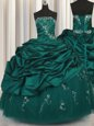 Fancy Peacock Green Ball Gowns Taffeta Strapless Sleeveless Beading and Appliques and Embroidery and Pick Ups Floor Length Lace Up Quince Ball Gowns