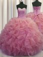 Dramatic Ball Gowns Quinceanera Gowns Watermelon Red Sweetheart Organza Sleeveless Floor Length Lace Up
