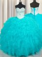 Aqua Blue Sweetheart Neckline Beading and Ruffles Ball Gown Prom Dress Sleeveless Lace Up