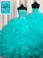 Best Aqua Blue Organza Lace Up Ball Gown Prom Dress Sleeveless With Train Sweep Train Beading and Ruffles