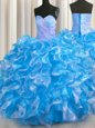 Blue And White Sleeveless Floor Length Beading and Ruffles Lace Up Quinceanera Dress