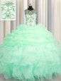 Scoop See Through Apple Green Sleeveless Beading and Ruffles and Pick Ups Floor Length Sweet 16 Dresses