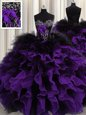Enchanting Black And Purple Lace Up Ball Gown Prom Dress Beading and Ruffles Sleeveless Floor Length