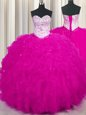 Fantastic Fuchsia Sleeveless Floor Length Beading and Ruffles Lace Up Quinceanera Dresses