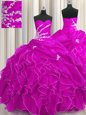 Fuchsia Ball Gowns Sweetheart Sleeveless Organza Floor Length Lace Up Beading and Appliques and Ruffles Quinceanera Gowns