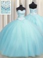 Three Piece Visible Boning Ball Gowns Quinceanera Dress Multi-color Sweetheart Tulle Sleeveless Floor Length Lace Up