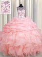 Clearance V Neck Ball Gowns Beading and Ruffles Sweet 16 Quinceanera Dress Lace Up Organza Sleeveless Floor Length