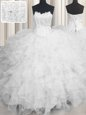 White Ball Gowns Scalloped Sleeveless Organza Floor Length Lace Up Beading and Ruffles Quinceanera Gowns
