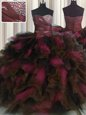 Elegant Organza and Tulle Sweetheart Sleeveless Lace Up Beading and Ruffles and Ruffled Layers 15th Birthday Dress in Wine Red