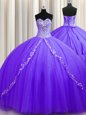 New Arrival Sleeveless Tulle Sweep Train Lace Up Sweet 16 Dress in Lavender for with Beading