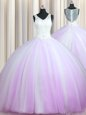 Graceful Zipper Up Lilac Sleeveless Brush Train Beading With Train Quince Ball Gowns