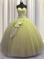 Modest Sleeveless Beading and Ruffles Lace Up Quince Ball Gowns