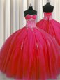 Best Big Puffy Red Sleeveless Floor Length Beading and Appliques Lace Up Quinceanera Gown