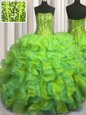 Adorable Visible Boning Beaded Bodice Multi-color Quinceanera Gown Military Ball and Sweet 16 and Quinceanera and For with Beading and Ruffles Strapless Sleeveless Lace Up