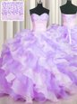 Two Tone Visible Boning Multi-color Ball Gowns Sweetheart Sleeveless Organza Floor Length Lace Up Beading and Ruffles Quinceanera Gown