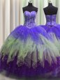 Sweet Visible Boning Tulle Sleeveless Floor Length 15 Quinceanera Dress and Beading and Ruffles and Sequins