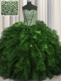 Exquisite Visible Boning With Train Ball Gowns Sleeveless Olive Green Sweet 16 Dress Brush Train Lace Up