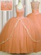 Sumptuous See Through Back Orange Sweetheart Zipper Beading and Appliques Quince Ball Gowns Brush Train Cap Sleeves