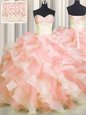 Gorgeous Visible Boning Two Tone Ball Gowns Quinceanera Gown Multi-color Sweetheart Organza Sleeveless Floor Length Lace Up