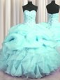 Visible Boning Aqua Blue Ball Gowns Organza Sweetheart Sleeveless Beading and Ruffles and Pick Ups Floor Length Lace Up Ball Gown Prom Dress