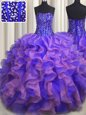 Flare Scoop See Through Lavender Sleeveless Beading and Ruffles and Pick Ups Floor Length Quinceanera Gown