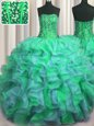 Beaded Bust Teal Quinceanera Gowns Military Ball and Quinceanera and For with Beading and Ruffles Sweetheart Sleeveless Lace Up