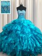 Sweetheart Sleeveless Brush Train Lace Up Ball Gown Prom Dress Teal Organza