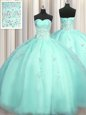 Sweet Really Puffy Organza Sweetheart Sleeveless Zipper Beading and Appliques 15th Birthday Dress in Turquoise