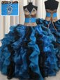 Suitable Leopard Two Tone V Neck Beading and Ruffles Sweet 16 Quinceanera Dress Blue And Black Lace Up Sleeveless Floor Length