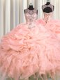Fitting See Through Pink Ball Gowns Organza Scoop Sleeveless Beading and Ruffles and Pick Ups Floor Length Lace Up Ball Gown Prom Dress