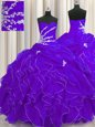 Elegant Purple Sleeveless Floor Length Beading and Appliques and Ruffles Lace Up Quinceanera Gowns