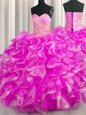 Admirable Sleeveless Organza Floor Length Lace Up Sweet 16 Dresses in Rose Pink for with Beading and Ruffles