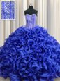 Visible Boning Royal Blue Organza Lace Up Sweetheart Sleeveless Floor Length Quinceanera Gowns Beading and Ruffles