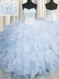 High End Scalloped Sleeveless Lace Up Sweet 16 Quinceanera Dress Light Blue Organza