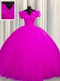 Romantic Fuchsia Ball Gowns Tulle Off The Shoulder Short Sleeves Ruching With Train Lace Up Sweet 16 Dresses Court Train