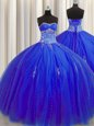Puffy Skirt Royal Blue Tulle Lace Up Sweetheart Sleeveless Floor Length Vestidos de Quinceanera Beading and Appliques