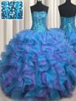 Visible Boning Bling-bling Floor Length Multi-color Quinceanera Gown Organza Sleeveless Beading and Ruffles