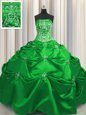 Embroidery Floor Length Green Sweet 16 Dresses Strapless Sleeveless Lace Up