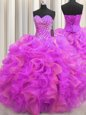 Visible Boning Floor Length Lace Up Quinceanera Gown Hot Pink and In for Military Ball and Sweet 16 and Quinceanera with Beading and Ruffles