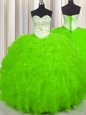 Tulle Lace Up Sweetheart Sleeveless Floor Length Sweet 16 Quinceanera Dress Beading and Ruffles